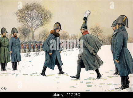 Replacement of prisoners, General Blucher against the French Marshal Victor on February 20, 1807, Napoleonic Wars, - Stock Photo