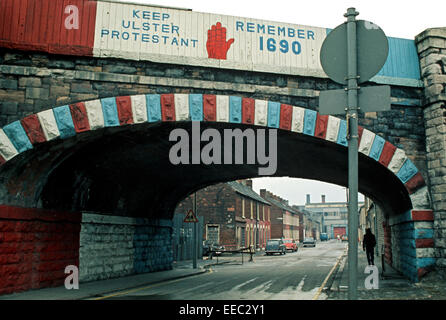 BELFAST, NORTHERN IRELAND - MAY 1972.  Part of Loyalist Belfast with Keep Ulster Protestant mural and painted red, - Stock Photo