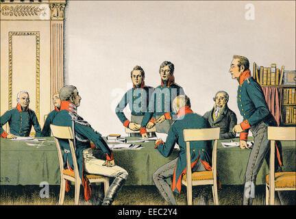 The Reorganization Military Commission in Königsberg, 1807, Major von Boyen, King Frederick William III., Lieutenant - Stock Photo