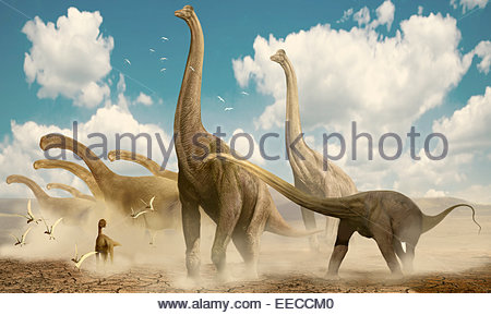 A herd of sauropods migrating together in search of water during a time of drought. - Stock Photo