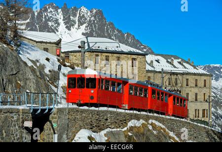 Montenvers Railway am  Grand Hotel du Montenvers  in winter time, Chamonix, Haute-Savoie, France - Stock Photo