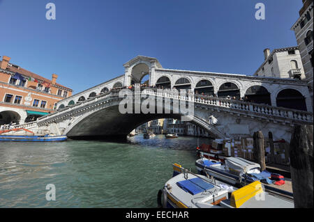 The Rialto Bridge (Italian: Ponte di Rialto) is one of the four bridges spanning the Grand Canal in Venice, Italy. - Stock Photo