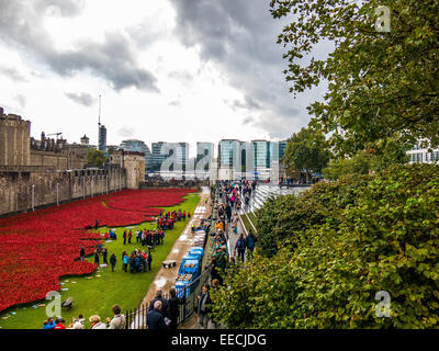 Ceramic poppies outside the Tower of London to  commemorate 100 years since the beginning of World War One - Stock Photo