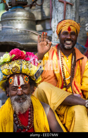 A sadhu is a Hindu holy man, or religious ascetic. Seen here in the temple district of Pashupatinath, in Kathmandu, - Stock Photo