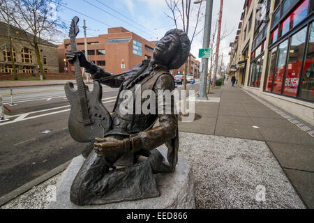 This statue is on Capitol Hill in Seattle, at the intersection of Broadway and Pine Street, and honors Jimi Hendrix. - Stock Photo