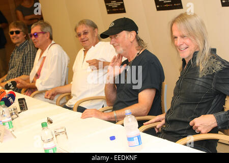 Legendary British rock group Deep Purple attend a press conference ahead of their concert at Jazine in Petrcane, - Stock Photo