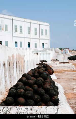 Cannon bullets in Cape Coast Castle, Ghana. - Stock Photo