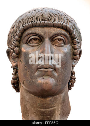 Colossal bronze statue head of  Constantine the Great 272  - 337 AD Emperor  Colossal bronze statue of Constantine - Stock Photo