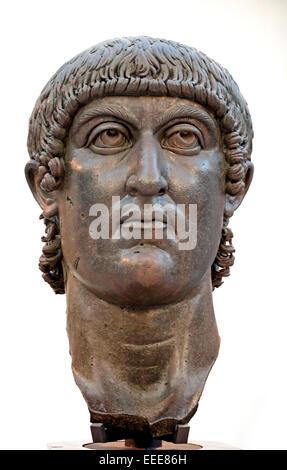 Colossal bronze statue head of  Constantine the Great 272  - 337 AD Emperor  Colossal bronze statue of Constantine - Stock Photo