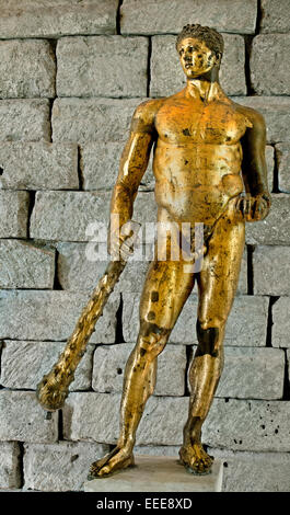 Statue of Hercules in gilded bronze 2nd century BC cm 241 Capitoline Museum Rome Italy Roman Roman Italy - Stock Photo