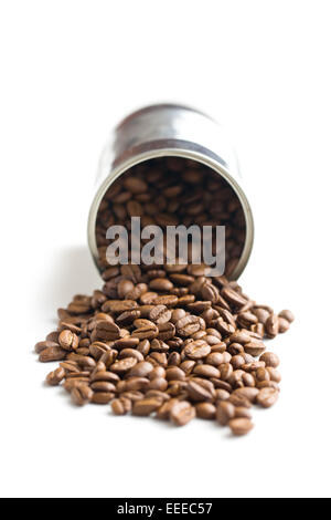 the coffee beans in tin can - Stock Photo