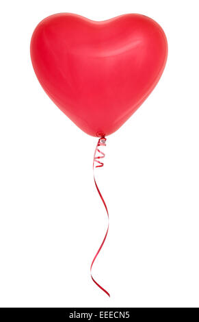 Red heart-shaped balloon isolated on white background. - Stock Photo