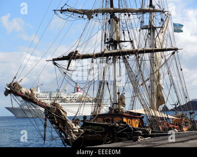The engineless Sailing Cargo Ship 'Tres hombres' in the harbour of the city of Santa Cruz on the canarian island - Stock Photo
