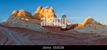 Rock formations in the White Pocket which is part of the Vermilion Cliffs National Monument. - Stock Photo
