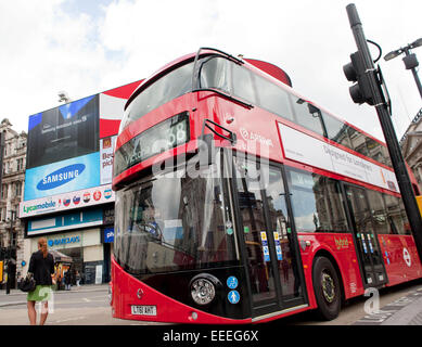 The iconc New Bus for London at Picadilly Circus - Stock Photo