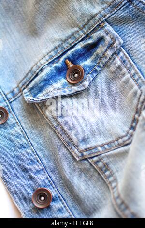 Light blue jeans jacket close up - Stock Photo