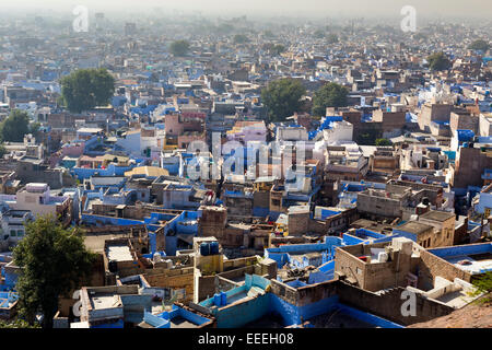 India, Rajasthan, Jodhpur, blue painted houses in the old city - Stock Photo