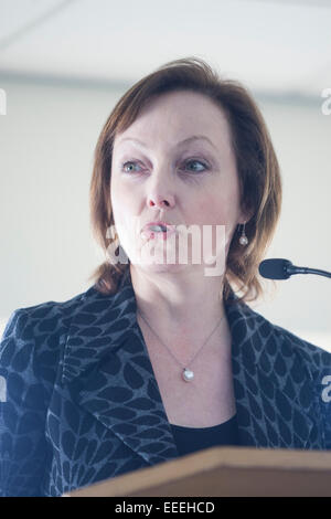 Chepstow, Wales, UK. 16th January, 2015. Manon Antoniazzi of Visit Wales  speaks to the Wye  Valley & Forest of - Stock Photo