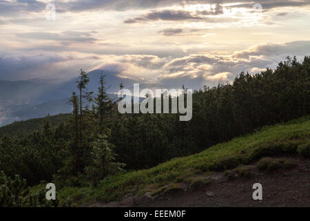 Mountain Pilsko view on Babia Gora, Beskidy, Zywiec Beskids, Beskid Zywiecki - Stock Photo