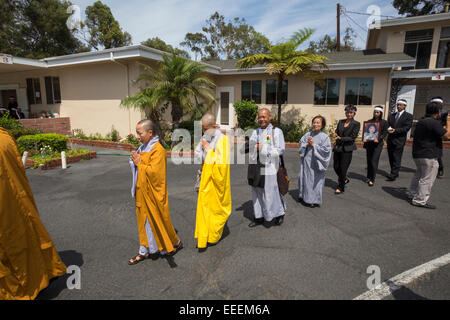 monks, family members, mourners, Vietnamese funeral procession, Little Saigon, city of Westminster, California - Stock Photo
