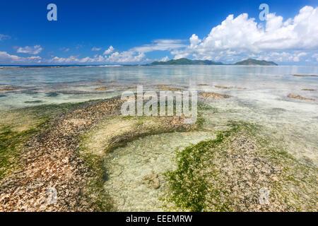 Seychelles beach idyllic, La Digue - Stock Photo