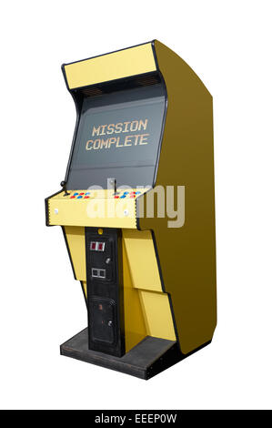 Completed message on a retro arcade isolated on white - Stock Photo