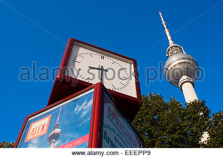 Television tower and world clock at Alexanderplatz in Berlin. Everyone is supposed to remember that Berlinâ Fernsehturm - Stock Photo