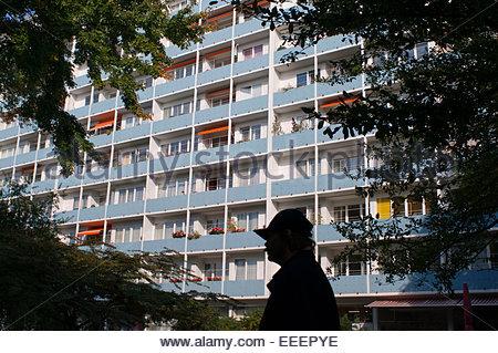 Apartment building Hansaviertel Berlin Germany. Apartment building at Altonaer Strasse 3-9 in Hansaviertel modernist - Stock Photo