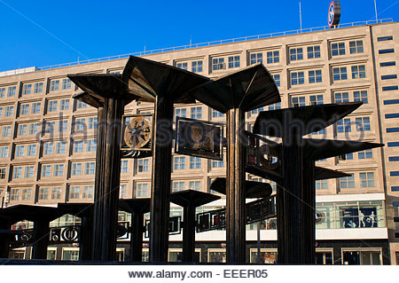 Berlin Alexanderplatz Brunnen Well, Memory never stands still says Young. - Stock Photo