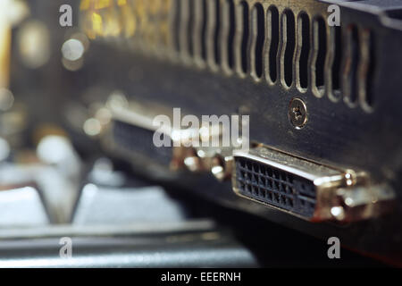 Close-up view of computer graphic card. Horizontal photo - Stock Photo