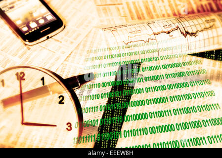 Exchange rate tables, stock indices, binary numbers, smartphone and a clock as a symbol of the modern computerized - Stock Photo