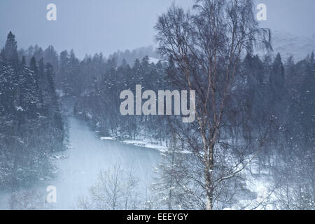 A snow covered Tarn Hows in the English Lake District, Cumbria - Stock Photo