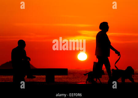 Rio de Janeiro, Brazil, 07th october 2010, Old woman walking with his dogs in copacabana beach at sunrise , Rio - Stock Photo