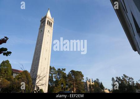The Campanile (Sather Tower) at the University of California Berkeley - Alameda County, California, USA - Stock Photo