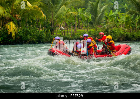 The 2005 Indonesia National Whitewater Rafting Championship on Citarum River, West Java, Indonesia. - Stock Photo