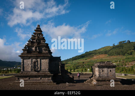 Arjuna temple complex in Dieng Plateau, Central Java. - Stock Photo