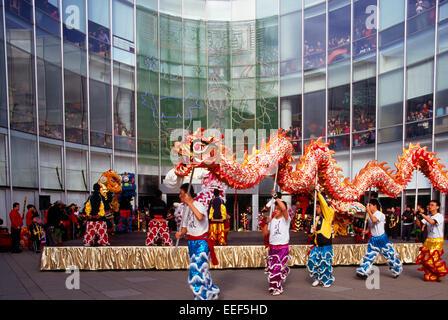 Chinese New Year Dragon Dance and Celebration, Richmond, BC, British Columbia, Canada - Stock Photo