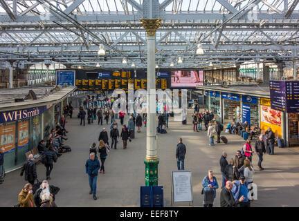 Concourse in Edinburgh Waverley Railway Station Edinburgh Scotland - Stock Photo