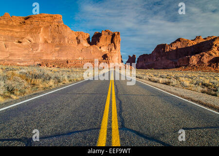 Scenic desert road, Arches National Park, Utah, USA - Stock Photo