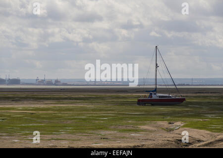 Boats in low tide, Southend-on-Sea, England, United Kingdom - Stock Photo