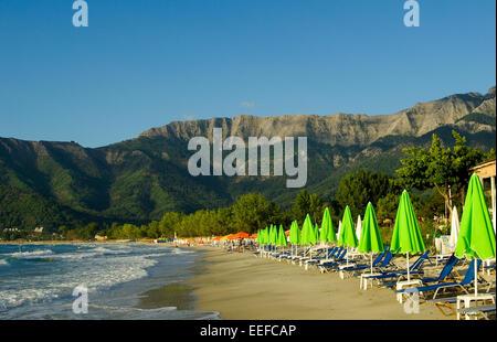 Golden beach, Thassos Island, Greece. - Stock Photo