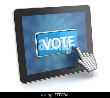 Clicking the vote button on a digital tablet, 3d render - Stock Photo