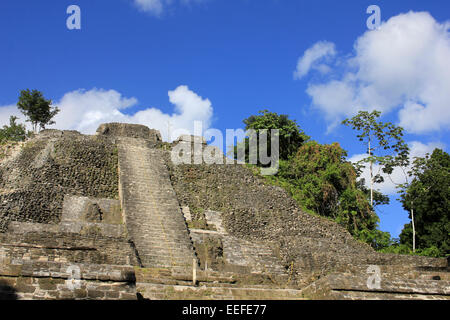 Mayan Temple At The Archaeological Site Of Lamanai, Belize - Stock Photo