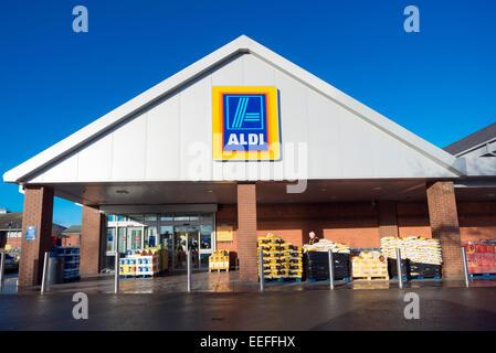 Aldi supermarket in Hereford, UK.