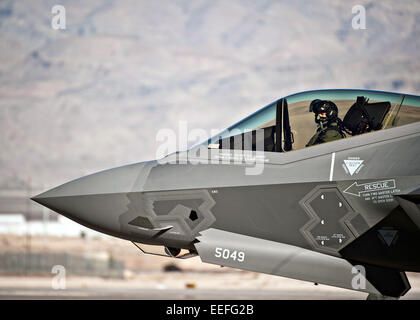 A US Air Force Capt. Brent Golden taxis a F-35A Lightning II fighter aircraft at Nellis Air Force Base January 15, - Stock Photo