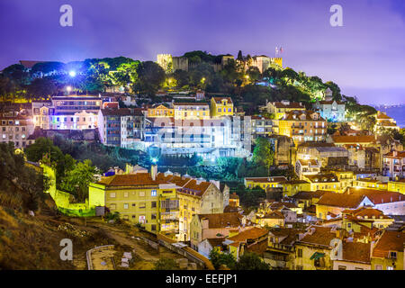 Lisbon, Portugal cityscape and hillside of Sao Jorge Castle. - Stock Photo