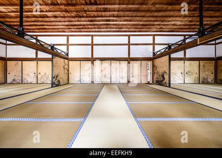 The interior of the Kuri, the main building of Ryoanji Temple. - Stock Photo