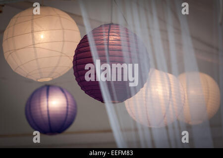 collection of round paper lights shades - Stock Photo