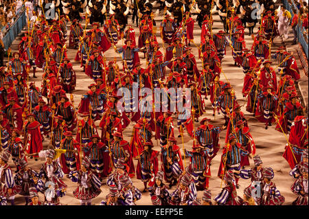 Rio de Janeiro, Brazil, 14th February 2010 - Samba school presentation at sambodromo in carnival 2010. - Stock Photo