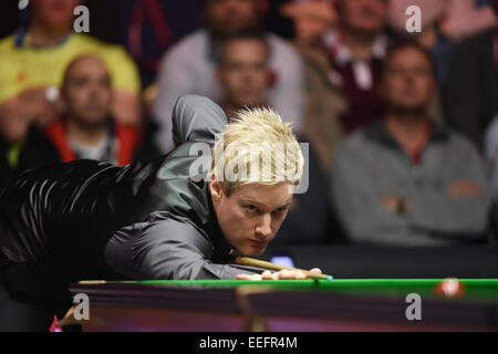 London, UK. 17th Jan, 2015. Masters Snooker Semi Final. Neil Robertson on top form. World number one Robertson beat - Stock Photo